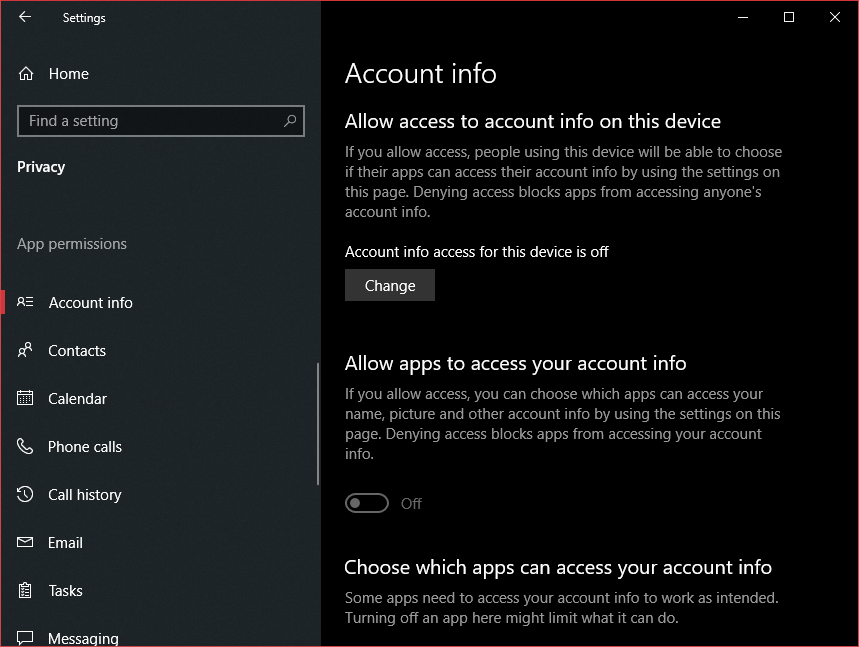 Account info privacy settings