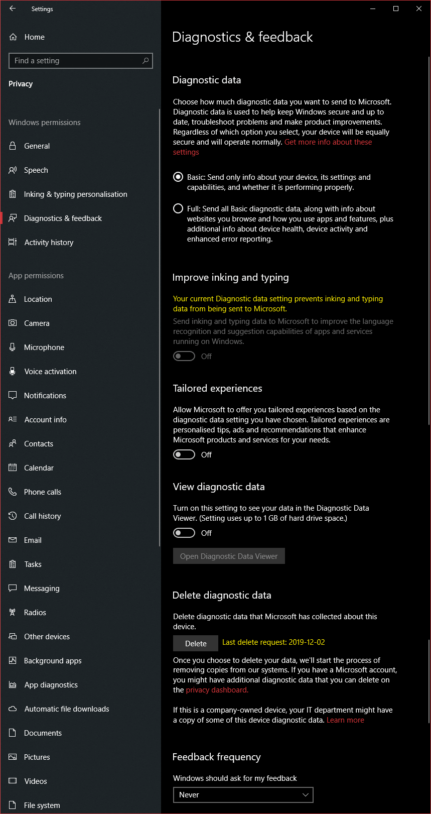 Diagnostics privacy settings