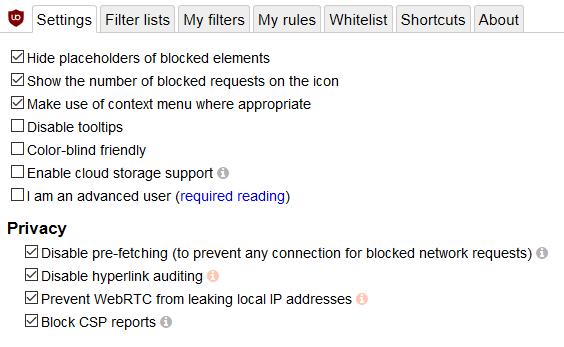 Ublock Origin basic settings