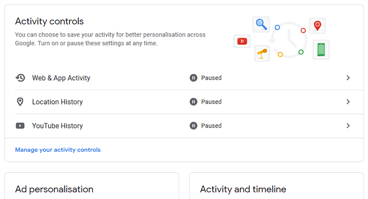 Google Personalisation settings