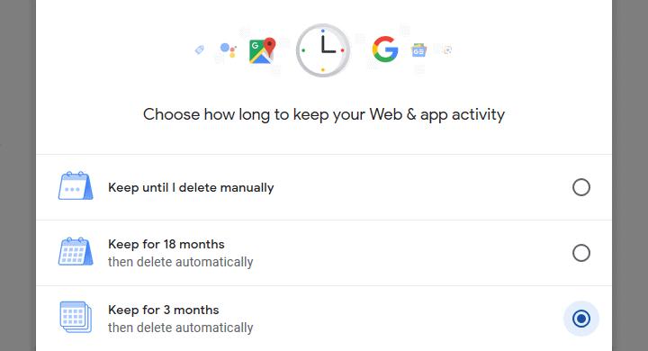 Google Web & App activity keep data