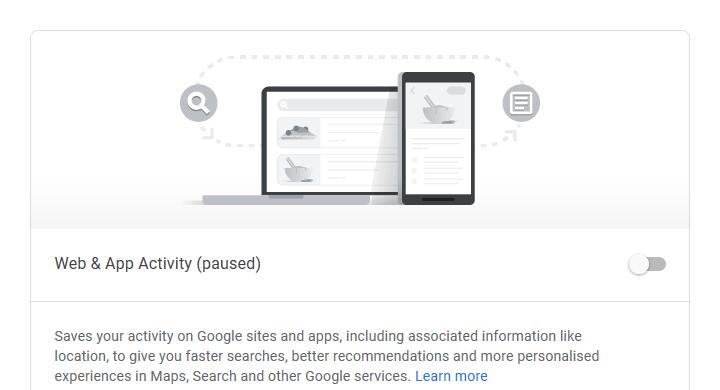 Google Web & Activity settings